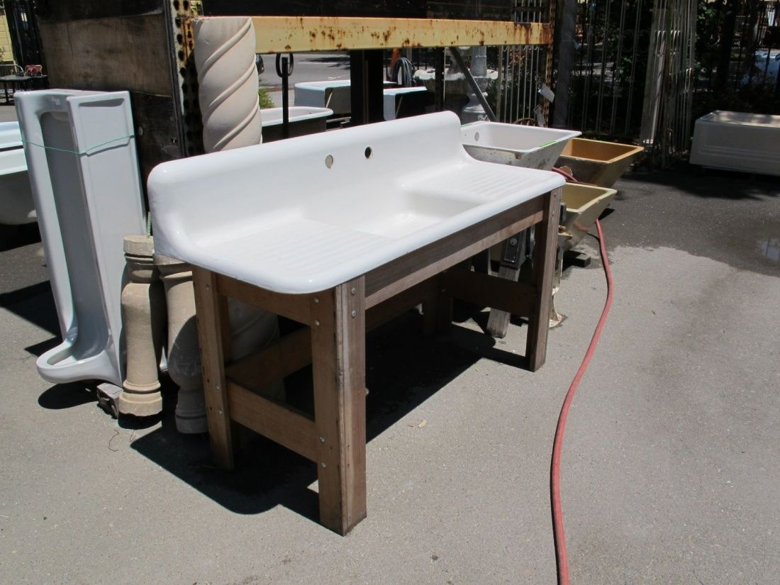 5′ Double Drainboard Farm Sink | Ohmega Salvage | Back Room ...
