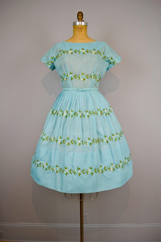 1950s party dress / 50s Aqua Organdy Garden Party Full Skirt ...