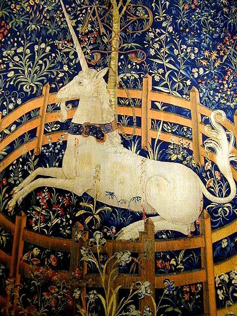 """The Unicorn in Captivity"", detail of the seventh panel from ""The Unicorn Tapestries"", c. 1495–1505"