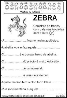 Fichas Leituras E Escritas Com Z Atividades Alfabetizacao E