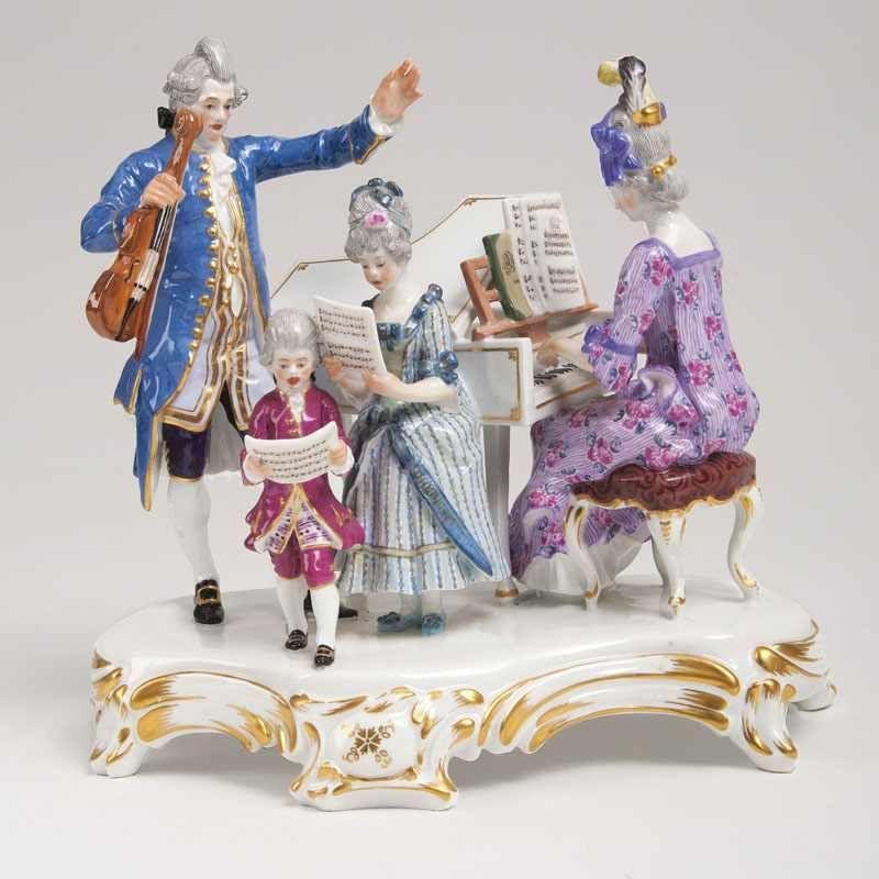 Joseph Von Kramer Augsburg 1841 Munchen 1908 Porzellan Figurengruppe Hauskonzert Meissen Anf 20 Jh Das Modell Um Porcelain Figurines Augsburg Character
