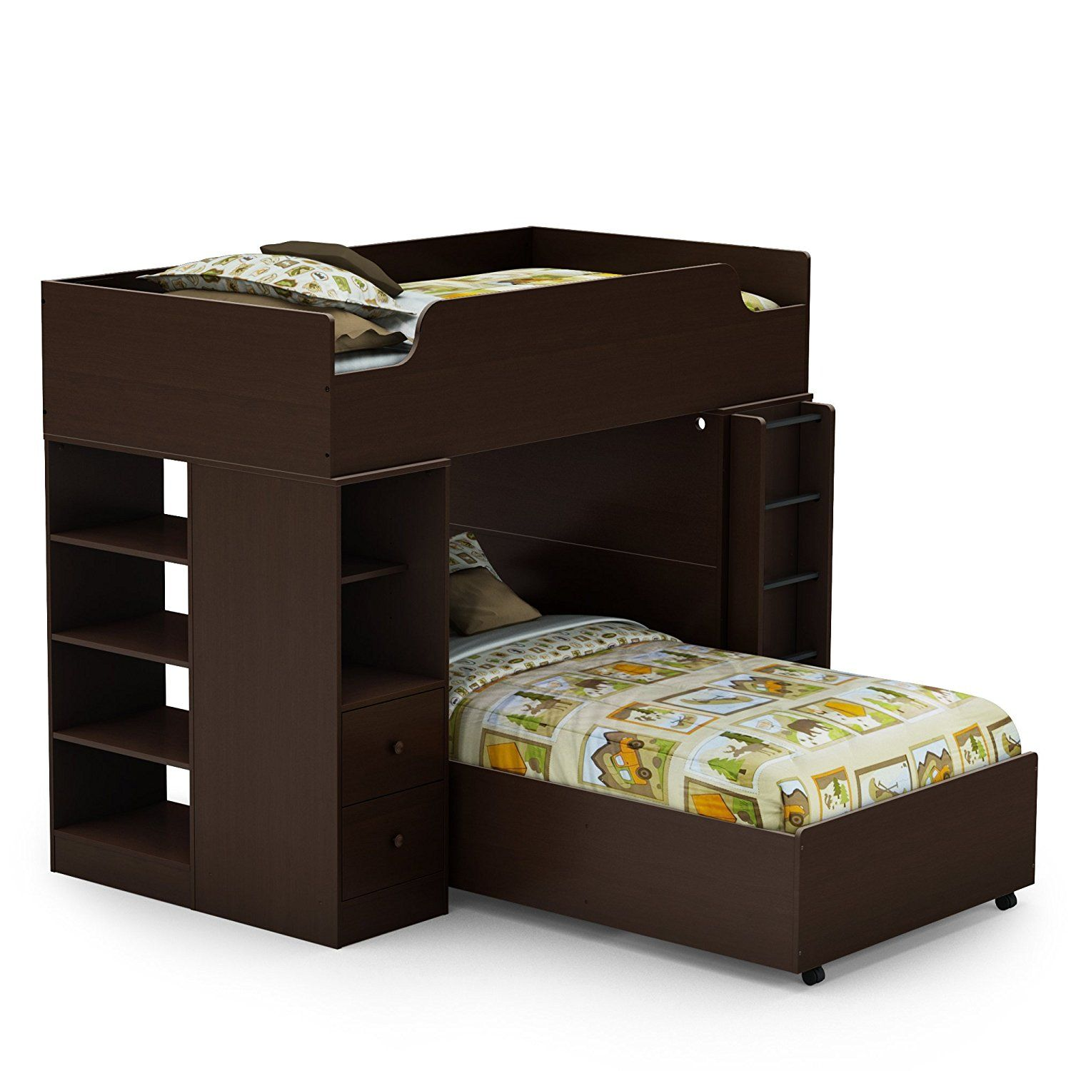 South Shore Logik Collection Twin 39 Inch Loft Bed Kit, Chocolate