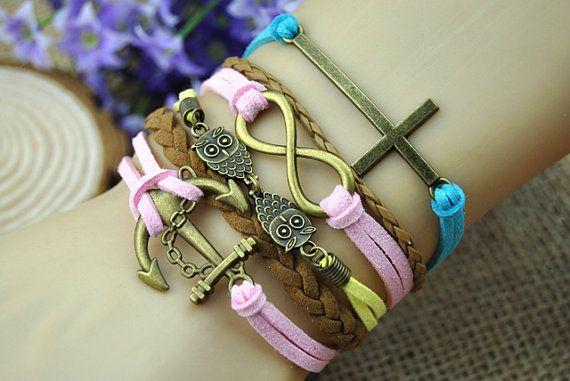 Anchor charm braceletbronze anchor infinity owl by HandmadeTribe, $6.99