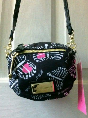 New Betsey Johnson Mini Crossbody Bag Heart Skips A Beat Black Purse Ebay
