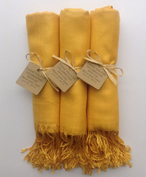 Set of 3 Mustard Yellow Shawls with Favor Tags by YadisCloset