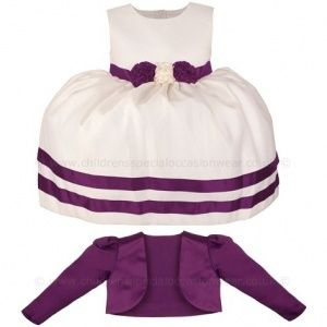 8603512719a5 Girls Cadbury Purple   Ivory Ribbon Rosette Dress   Bolero Jacket ...
