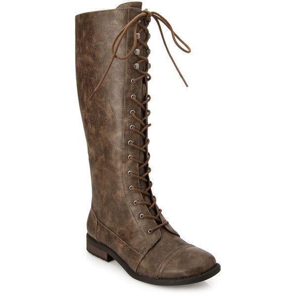 Forever 21 Women's  Lace-Up Knee-High Boots (33 CAD) ❤ liked on Polyvore featuring shoes, boots, knee-high boots, forever 21 boots, small heel boots, low heel lace up boots, short heel boots and lacing boots