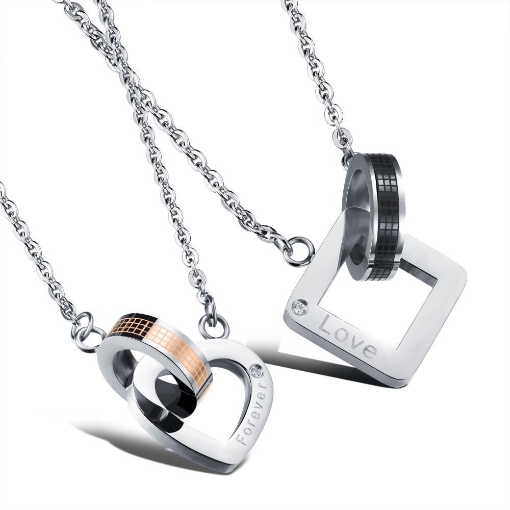 Fashion jewelry man women lovers pendant couple necklaces for girl fashion jewelry man women lovers pendant couple necklaces for girl boy herhim black rose gold color stainless steel link chain aloadofball Choice Image