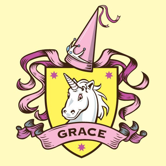 Coat of Arms Wall art Girls room Unicorn by PurpleCabooseArt, $12.00 ...