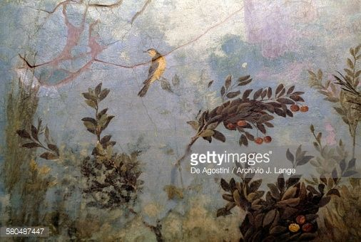 Bird, detail from a fresco depicting a garden with trees and birds, from the House of Livia on Palatine hill, Rome, Italy. Roman civilisation, 1st century BC-1st century AD.