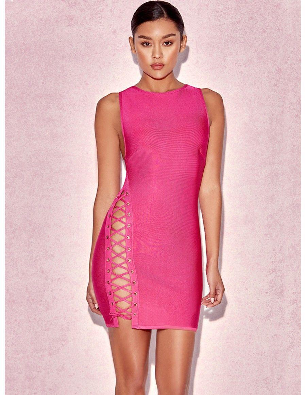 Vestido Bandage Rosa con Abertura VB322 - Vestidos | Lencería ...