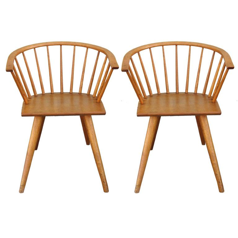 High Quality Pair Of Chairs By Russel Wright For Conant Ball