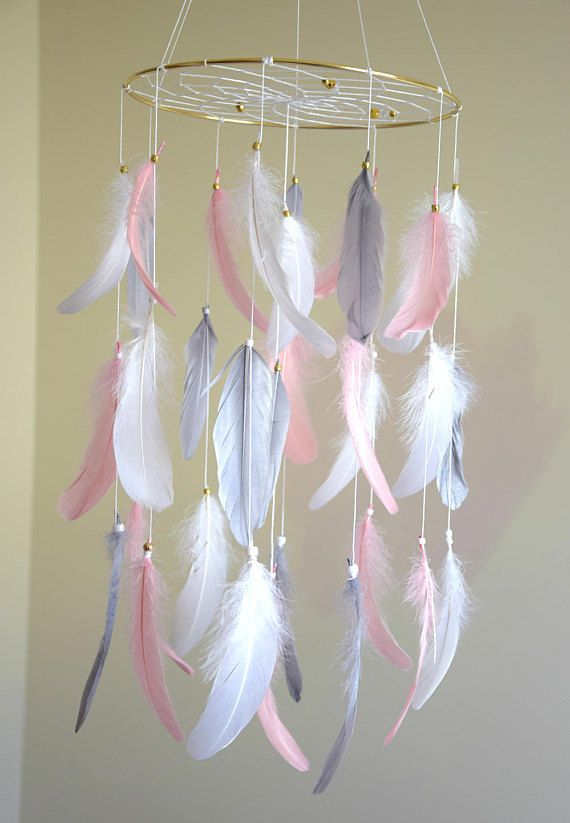 Baby Nursery Mobile Feather Dreamcatcher Mobile Woodland ...