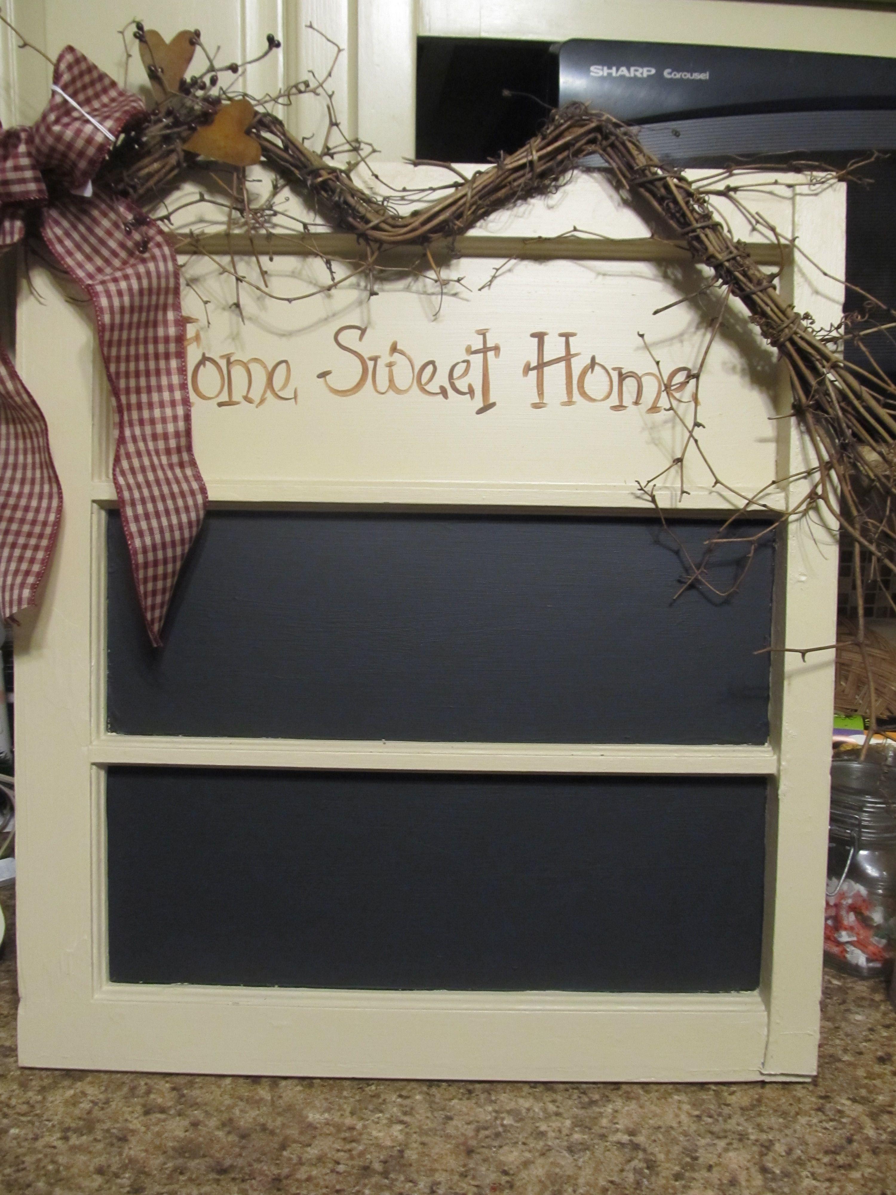 Old window with chalk paint | Old Window Ideas | Pinterest