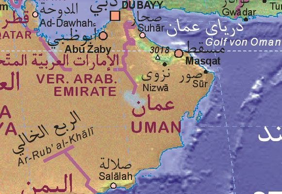 Map Of Oman Oman Salalah Muscat
