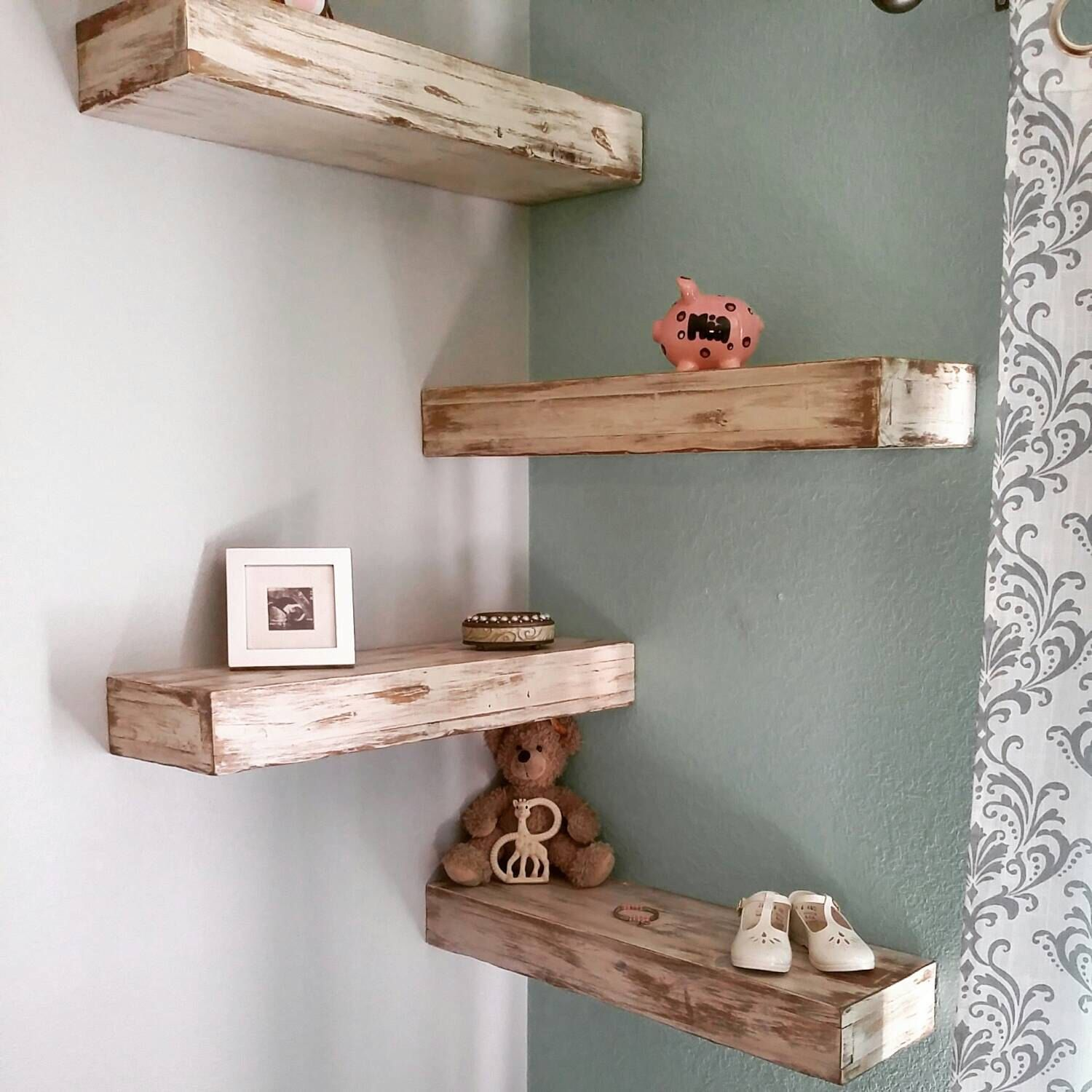 Pin By Mountain Laurel Handrails On Bedroom Decor Wood Corner Shelves Reclaimed Wood Floating Shelves Wood Floating Shelves