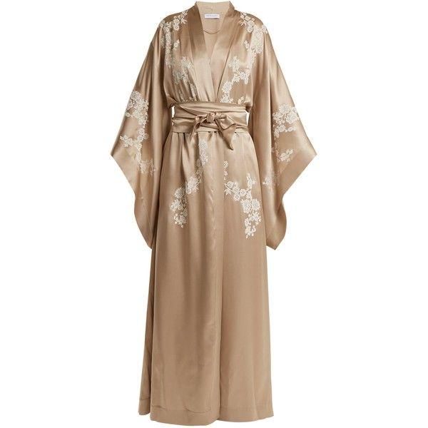 fd0e097f93 Carine Gilson Lace-detailed silk-satin kimono robe ( 2