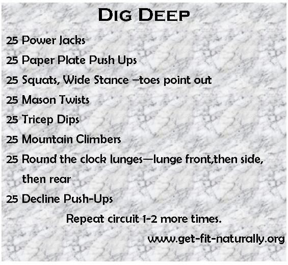 Dig Deep home workout- from getfitnaturally