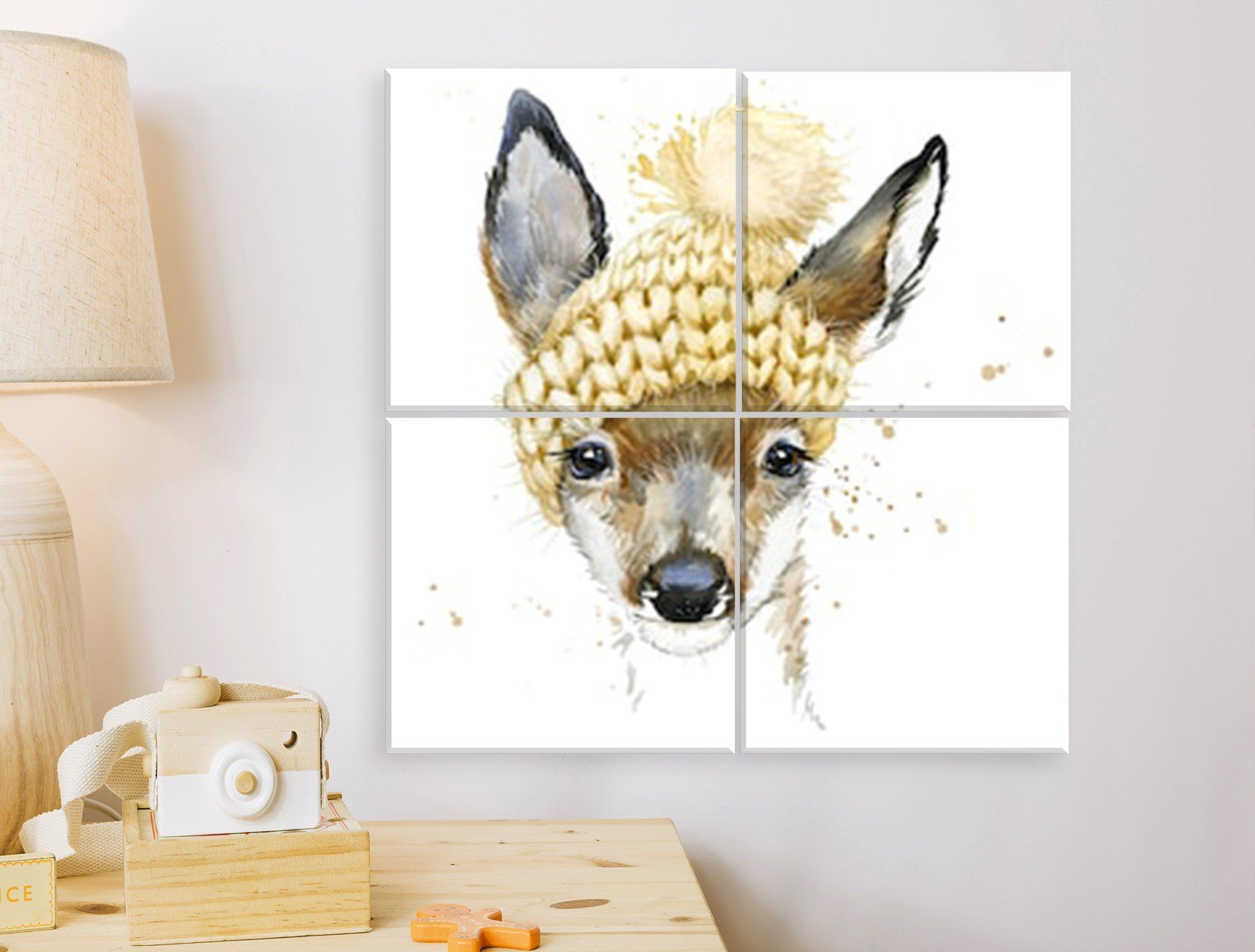 Cute forest deer canvas print nursery decor baby kids room wall art