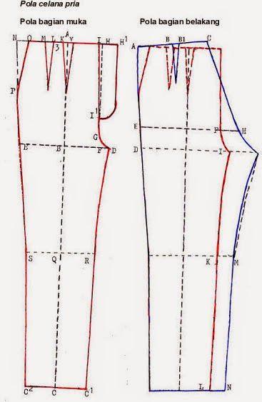 Cara Membuat Pola Celana Pria Dengan Mudah Celana Pria Celana Pola Celana