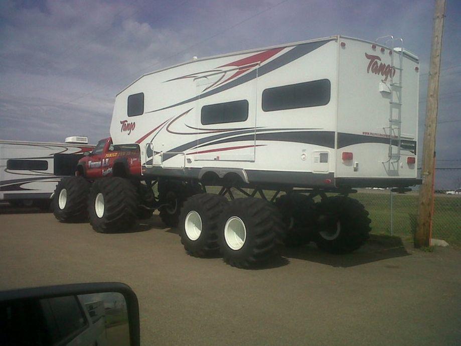 Custom Camper And Monster Truck Monster Trucks Trucks Custom