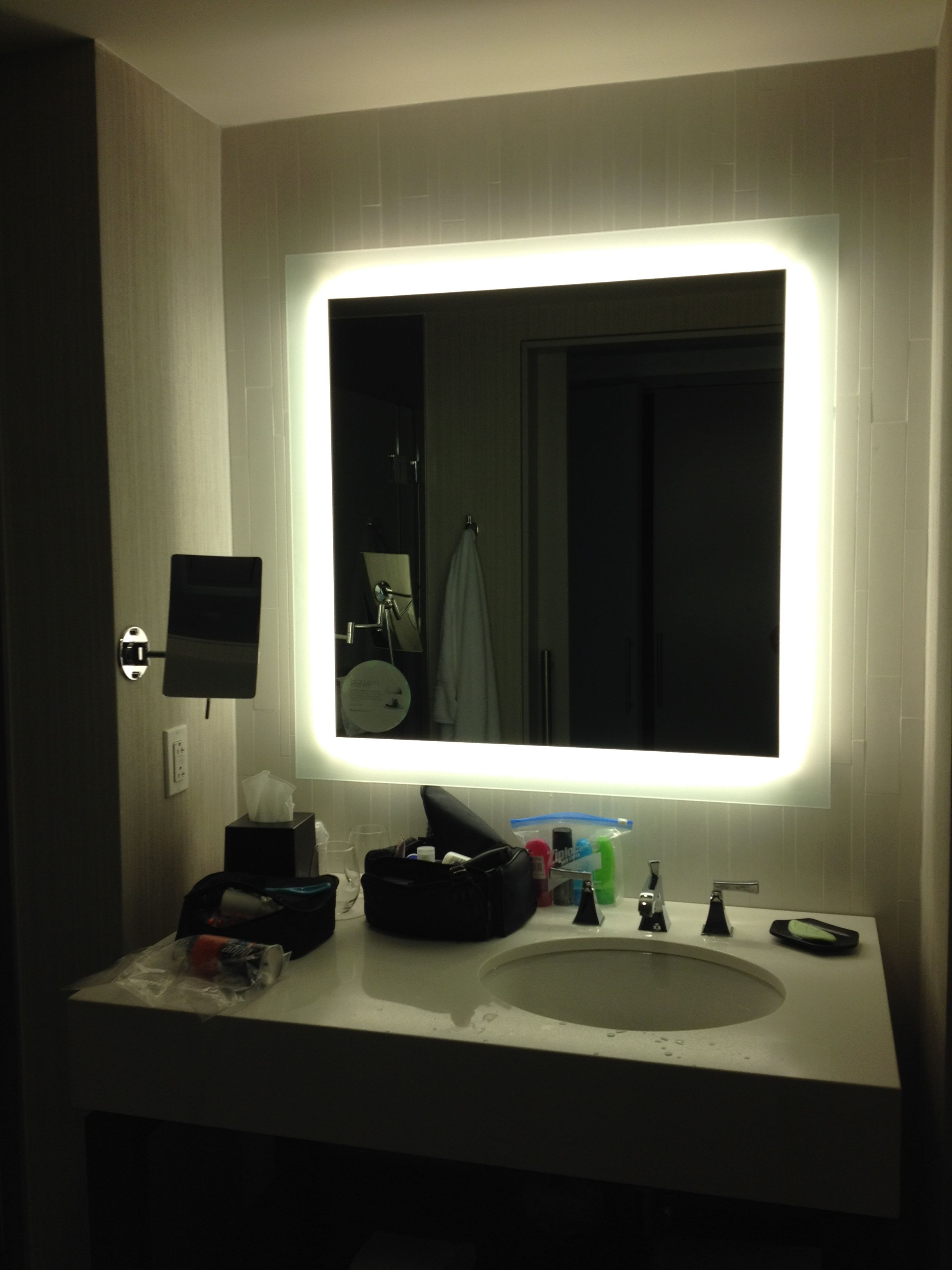 This Bathroom Mirror Light Was Like Doing Makeup With A Ring Light I Loved The Magnetizing Mirror Bathroom Mirror Bathroom Mirror Lights Hotel Bathroom Mirror