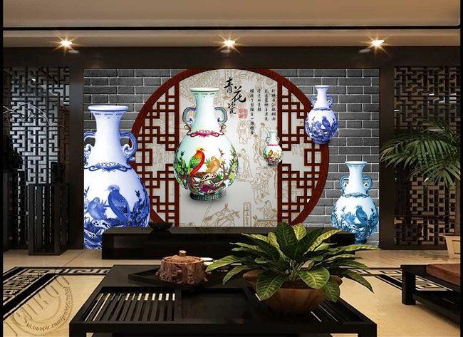 papier peint asiatique trompe l 39 il effet 3d les porcelaines chinoises anciennes papier. Black Bedroom Furniture Sets. Home Design Ideas