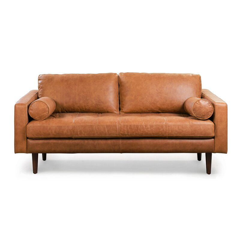 Kate Genuine Leather 72 Square Arm Sofa In 2020 Leather Sofa Genuine Leather Sofa Poly Bark