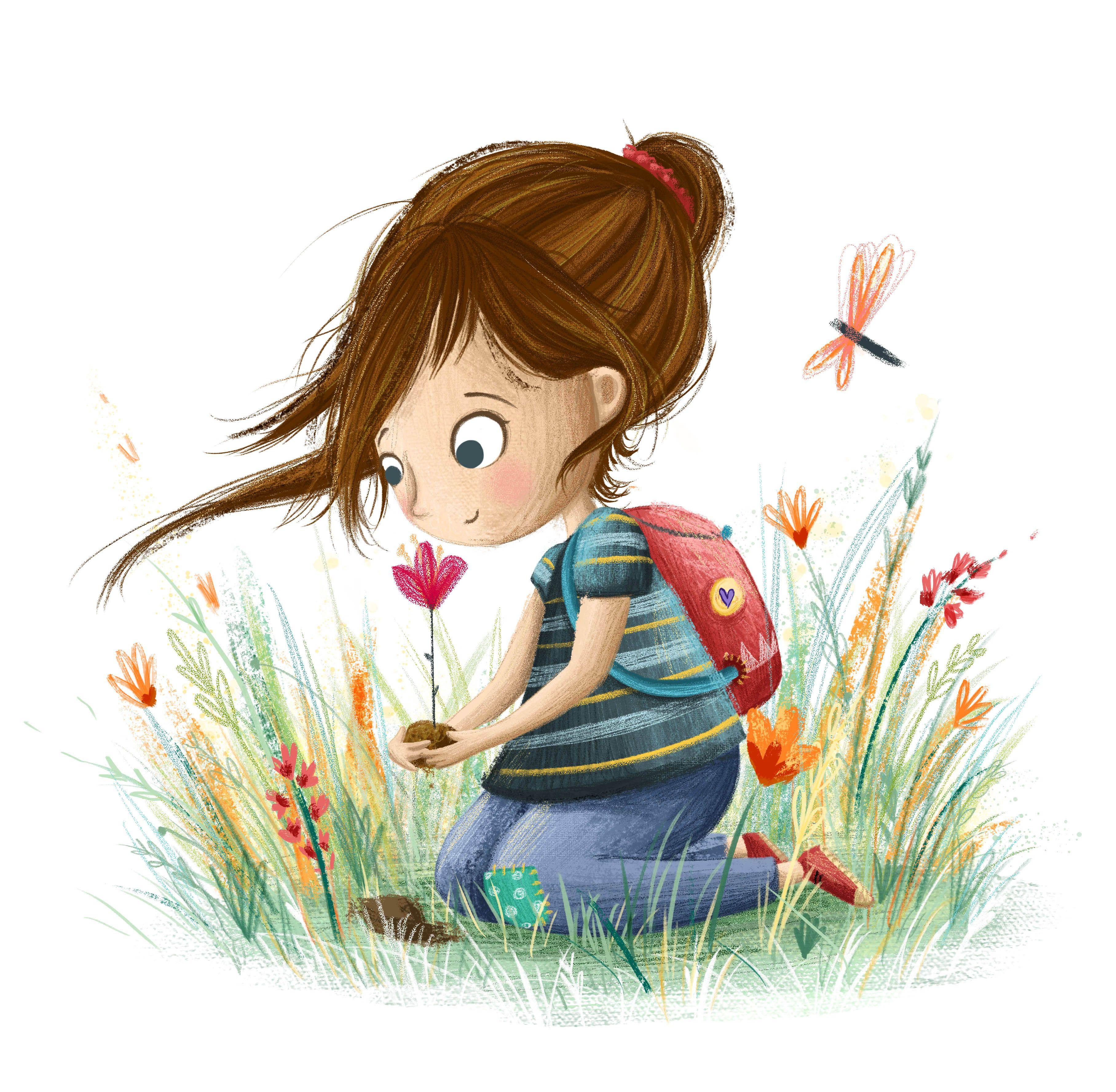 Девочка нюхает цветок рисунок
