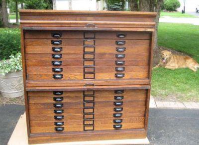 Antique 14 drawer oak flat file blueprint map cabinet for the antique 14 drawer oak flat file blueprint map cabinet malvernweather Gallery