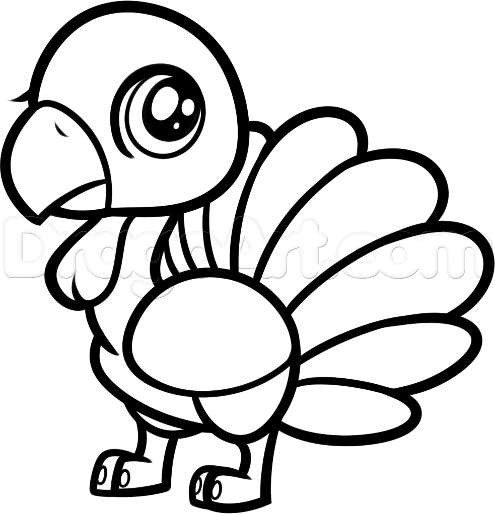 how to draw a chibi turkey for kids step 8 - Turkey Pictures For Kids