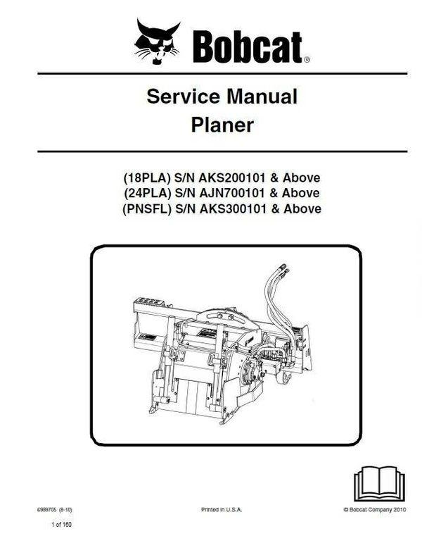 Bobcat 18PLA, 24PLA, PNSFL Planer Service Repair Manual