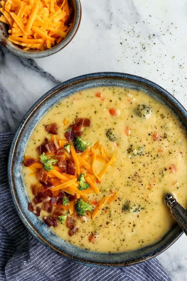 Broccoli Cheddar Soup Loaded with Vegetables from  - This broccoli cheese soup recipe is loaded wit