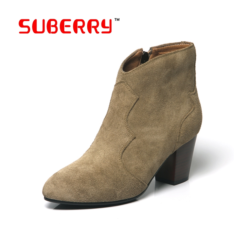 59.64$  Watch here - http://ali3pd.worldwells.pw/go.php?t=32716023676 - SUBERRY Spring/Autumn Ankle Boots For Women High Heel 100% Genuine Nubuck Leather Women's Ankle Boot Fashion Short Martin Shoes 59.64$