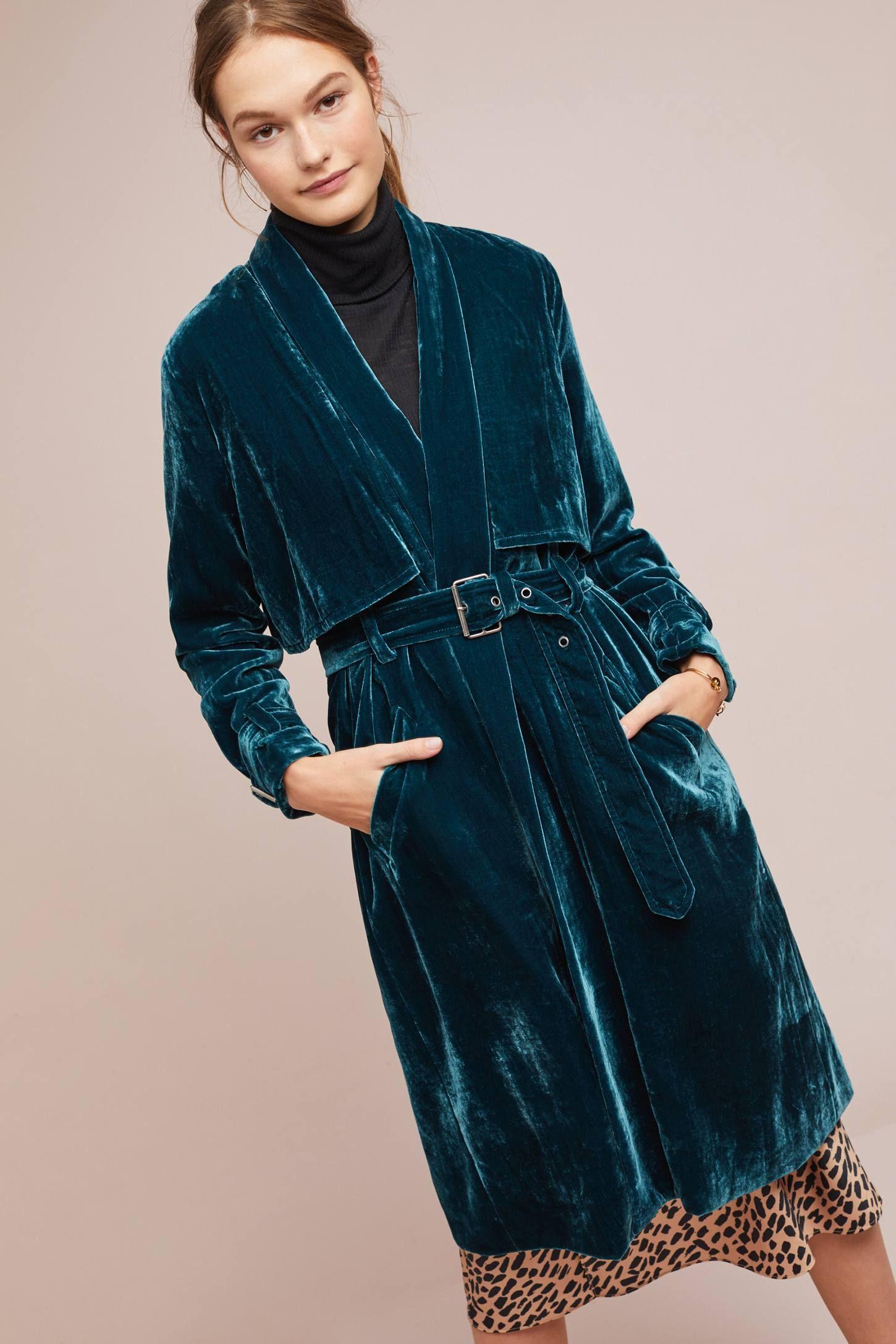Velvet Trench Coat Clothes, Velvet Trench Coat For Ladies