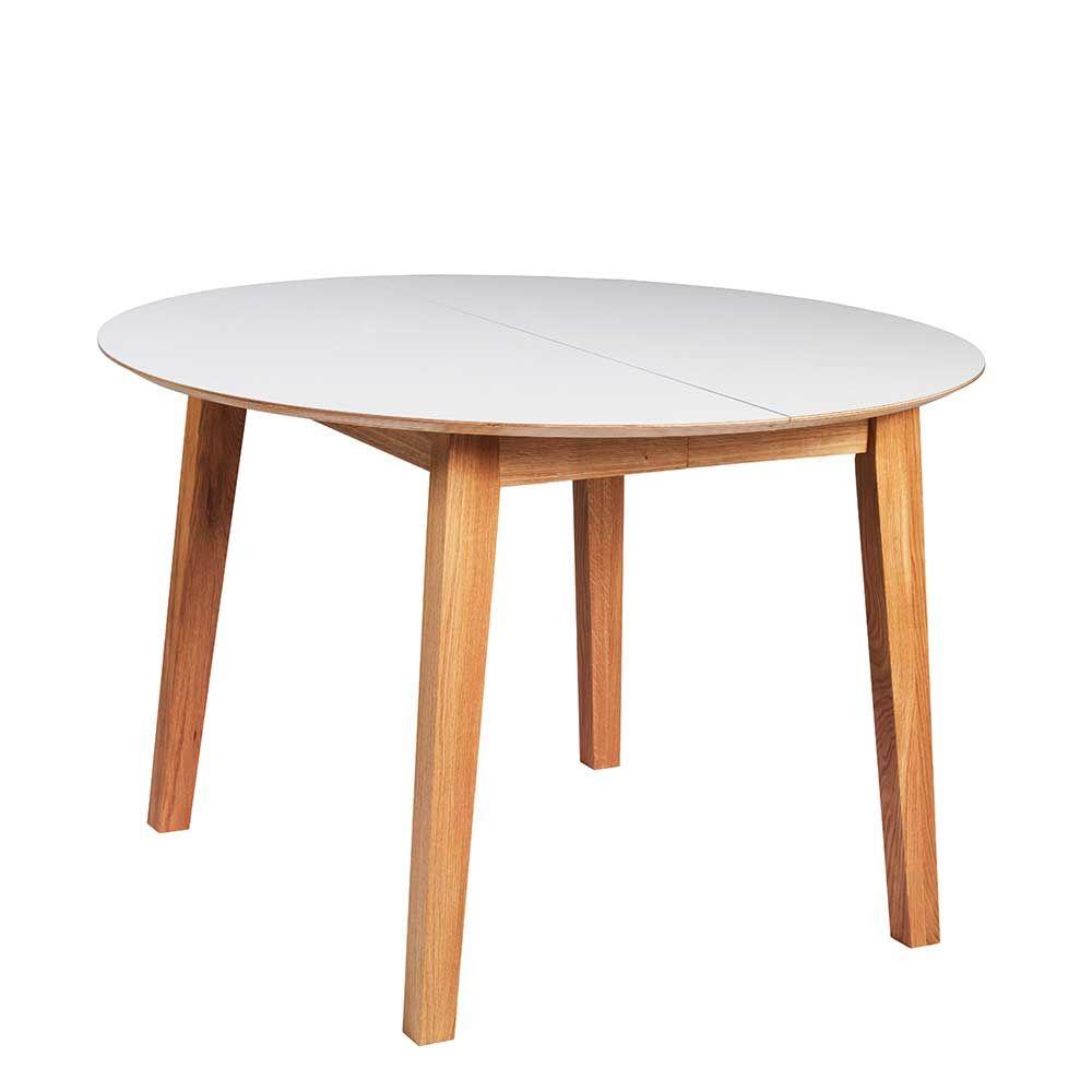 Runder Esstisch in Weiß mit Holzbeinen | Küche und Esszimmer ...