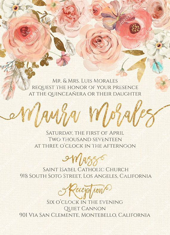 Boho chic quinceaera invitation quinceanera invitation invitacion boho chic quinceaera invitation quinceanera invitation invitacion de quinceera oro watercolor floral feathers gold type digital file stopboris Choice Image