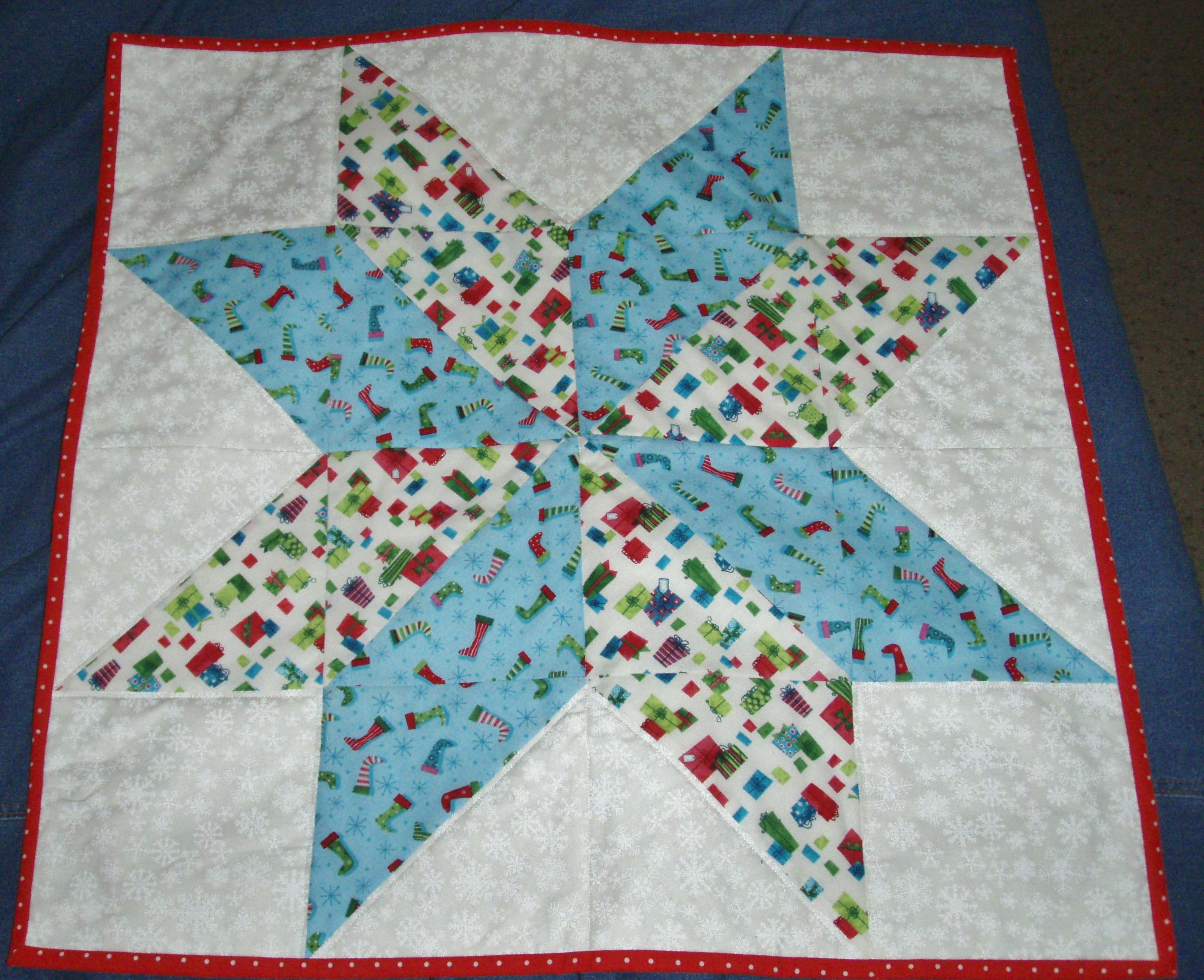 Table Topper made from the Big Star Quilt block by the Missouri ... : big star quilt block - Adamdwight.com