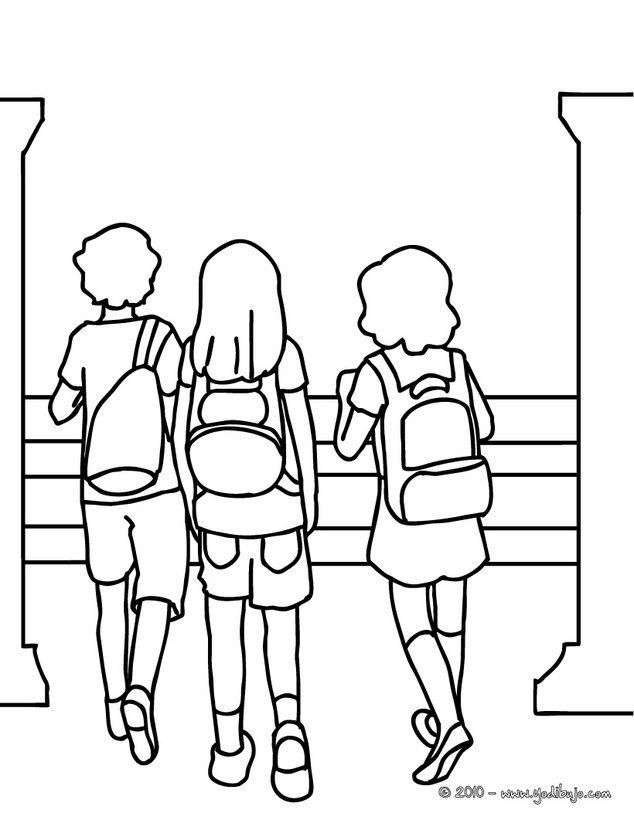 Dibujo para colorear : alumnos en la escuela. | De vuelta al colegio ...