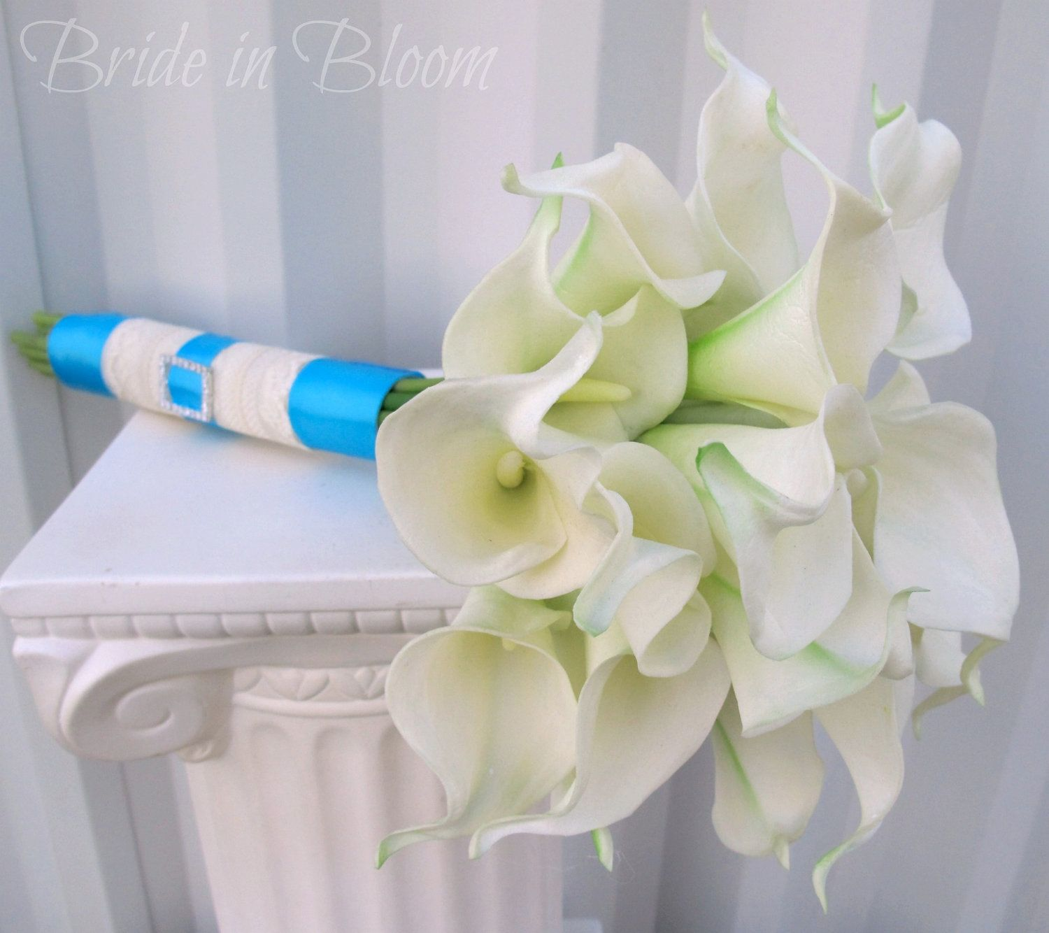 Wedding bridal bouquet cream white real touch calla lily turquoise