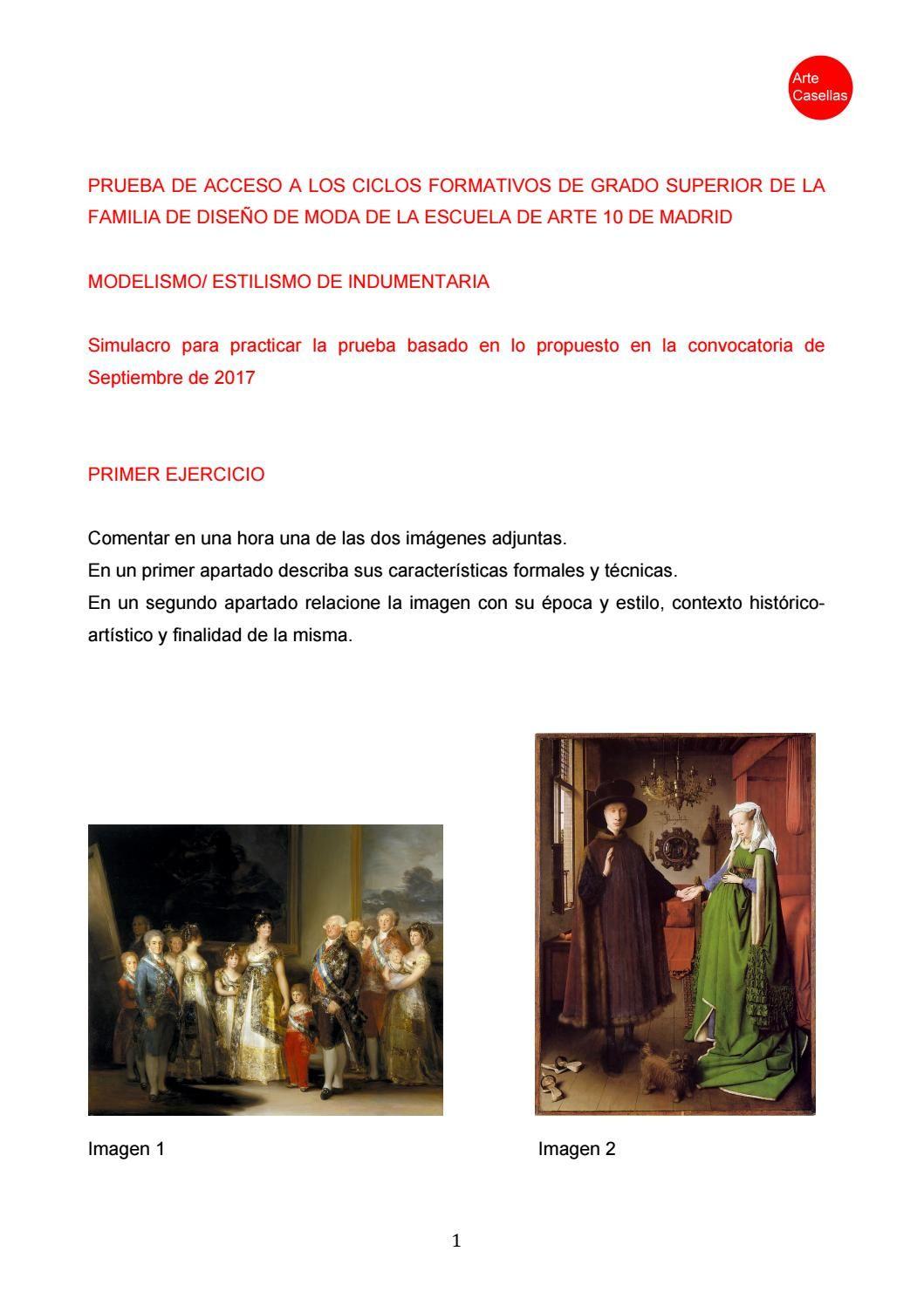 Modelo Prueba Especifica 2017 Arte10 Moda Clases De