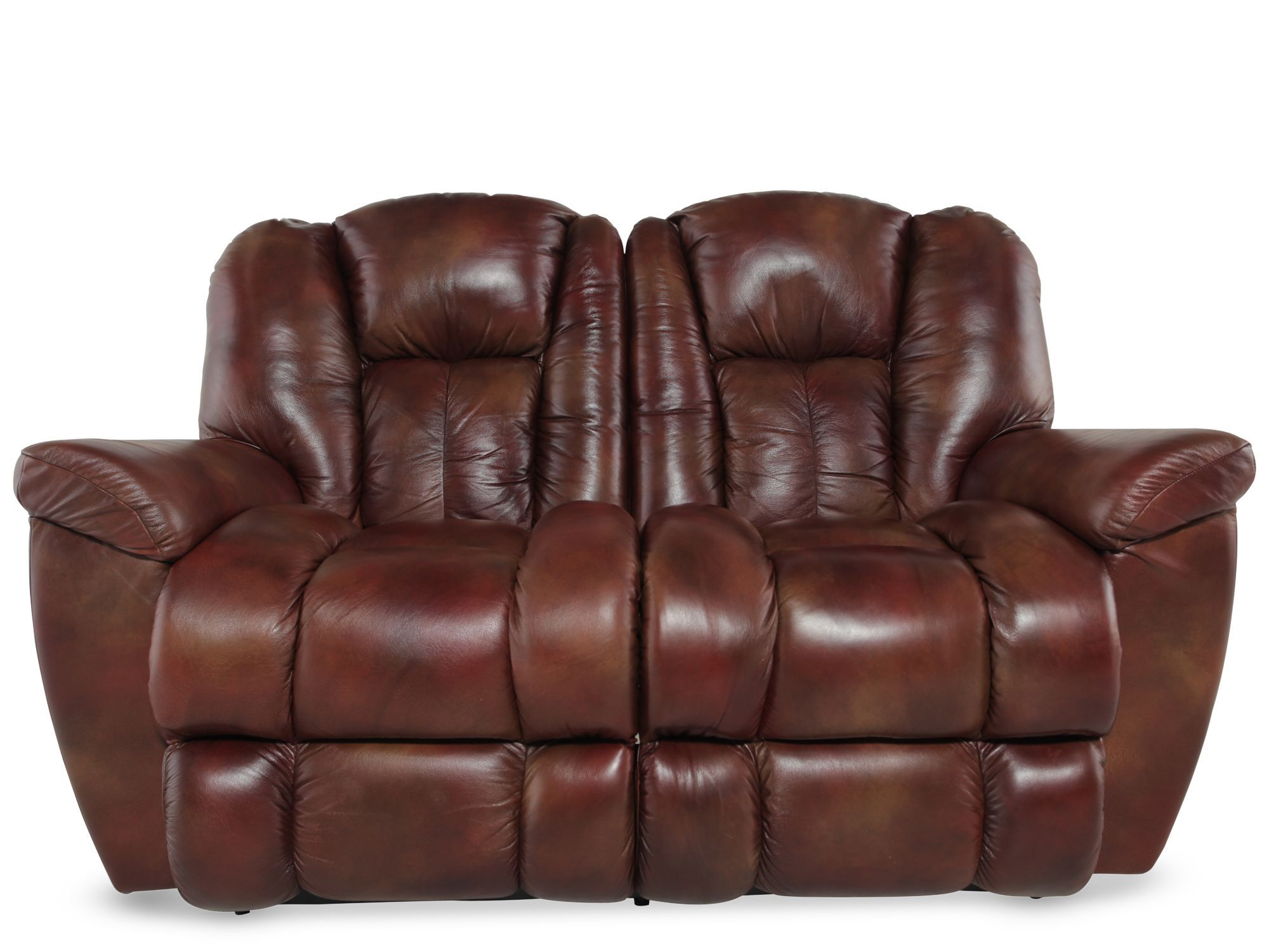 La Z Boy Maverick Mahogany Leather Reclining Loveseat