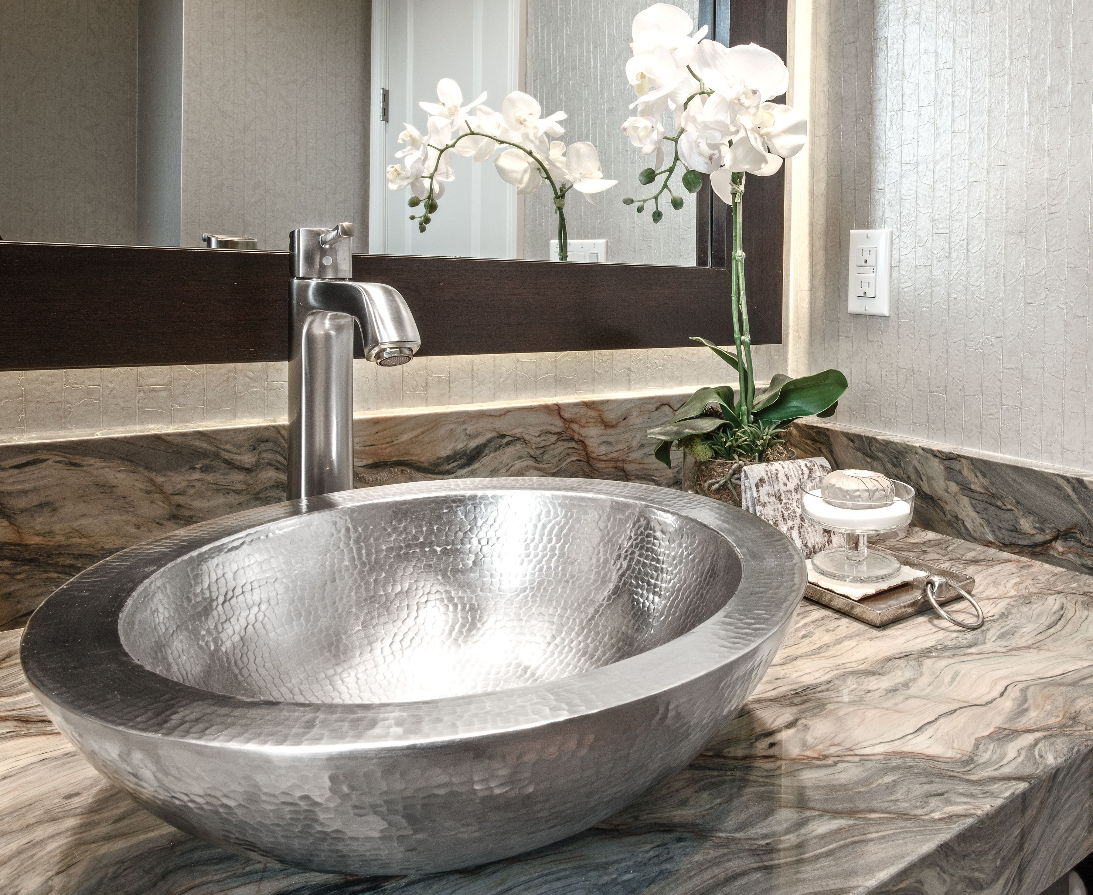 Metal Vessel Sink With Textured Design Featured In Our Custom