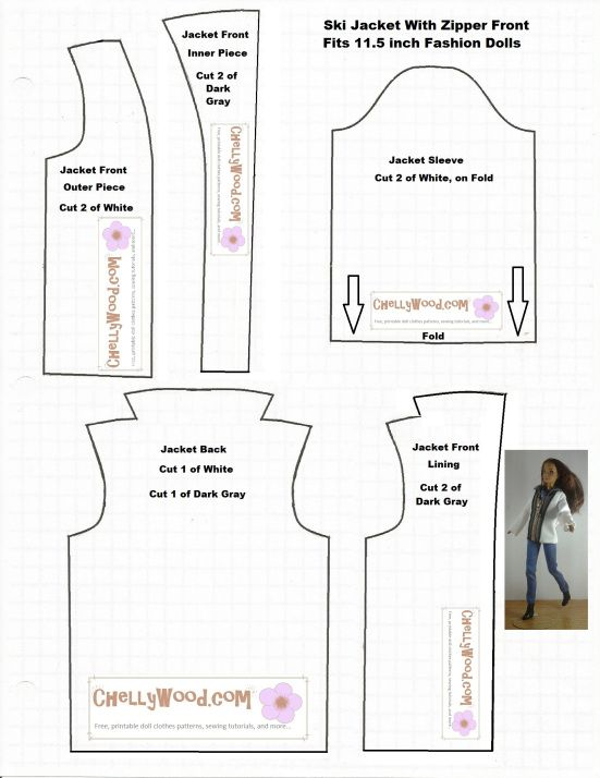 Image of printable sewing pattern for a ski coat or winter jacket to ...