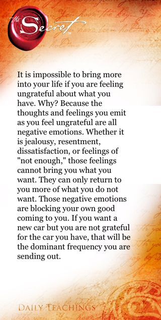 Feeling Grateful Love This Book And Movie Secret Law Of Attraction Law Of Attraction Secret Quotes