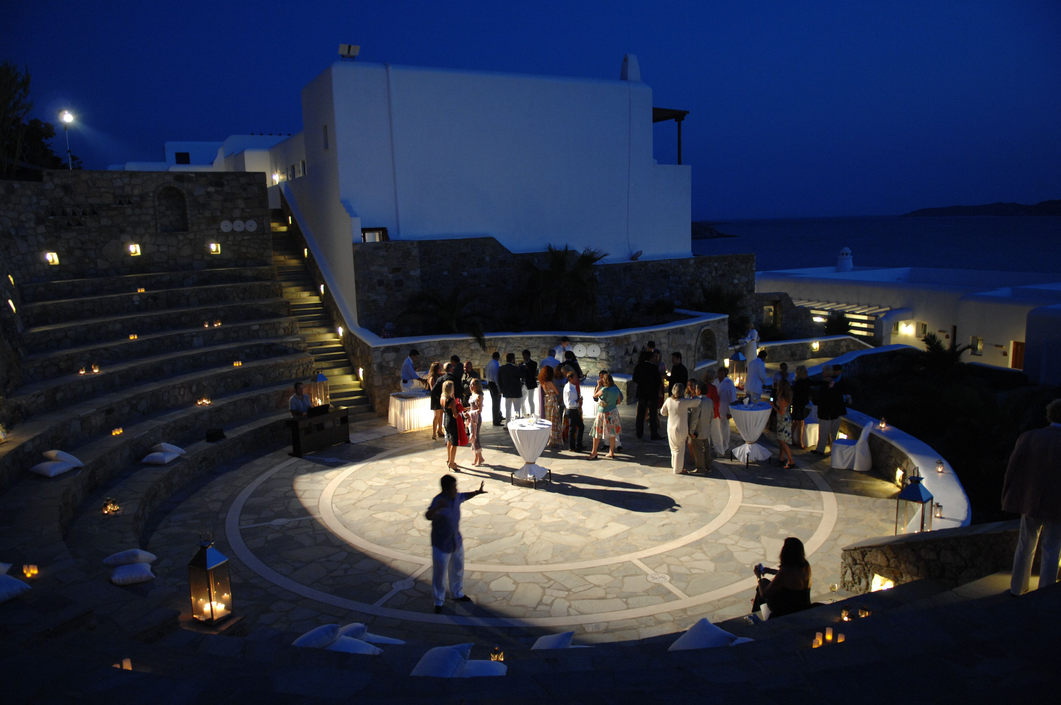 Birthday Party At Outdoor Amphitheater With A Pianist Mykonos Grand Hotel Resort