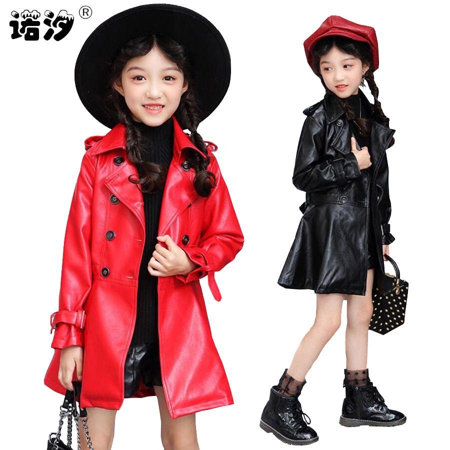 5dad254a2af9 Girls clothes Kids PU Leather jacket girls fashion spring autumn ...