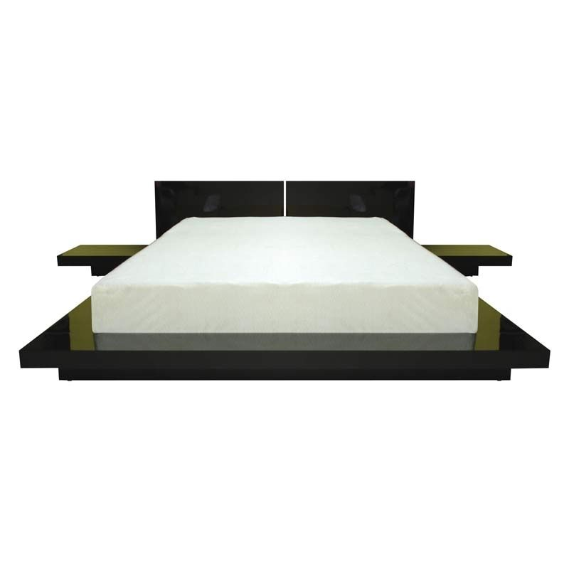 fujian platform bed with 2 nightstands in black finish wooden platform bed asian - Black Platform Bed Frame