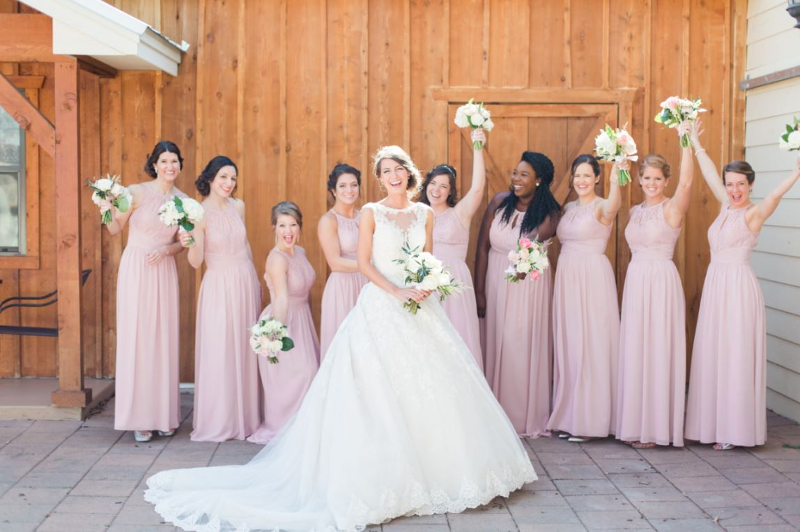 Romantic destination wedding in texas hill country bridal parties