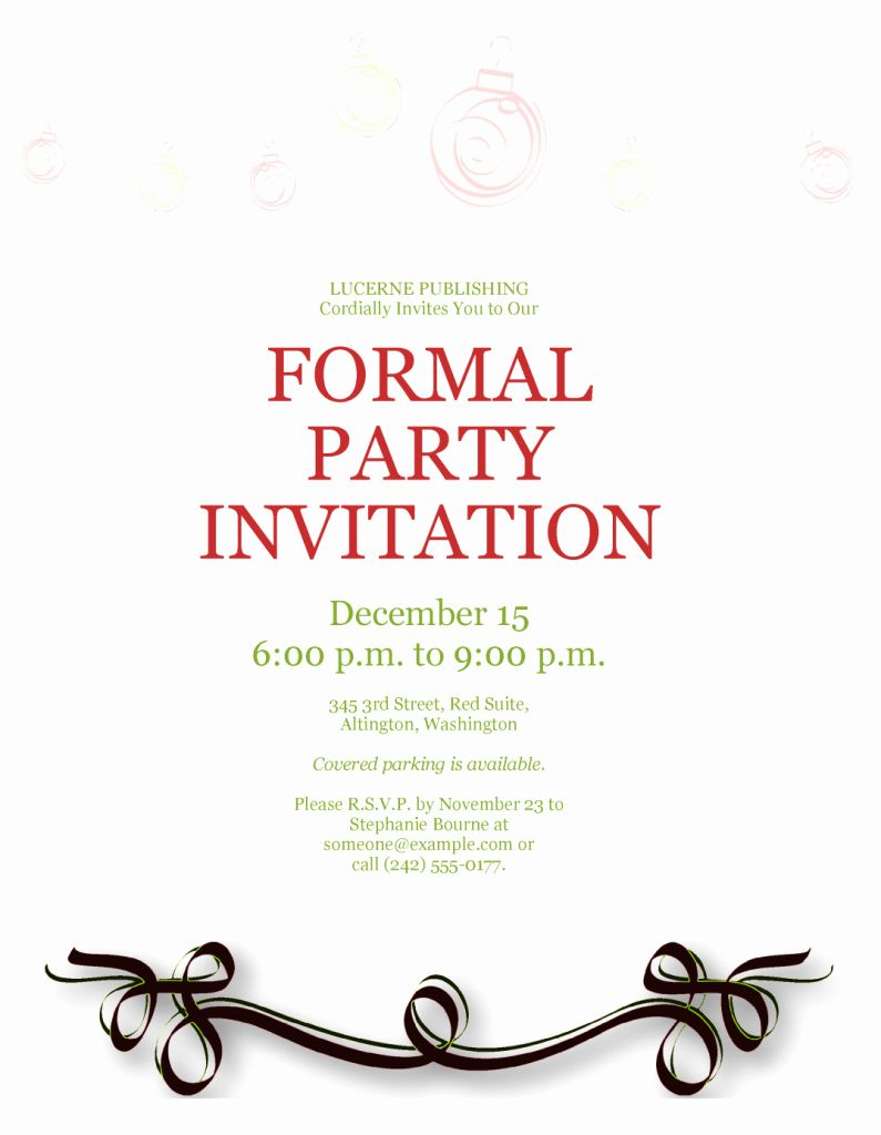 Formal Invite Template Free Inspirational formal Party Invitation